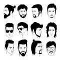 Set of men hairstyle with beards and mustache. Collection of stylish 80s, 90s types. Hand drawn isolated hipster guys