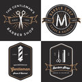 Set of men's barber shop logo, badges, label, tag design in vintage style. Shave and haircut banner. Royalty Free Stock Photo