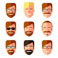 Set of men s faces with different haircuts, mustaches, beards and glasses. Flat design. Silhouettes, emblems, icons