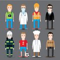 Set of 8 men's professions. Vector flat design. Royalty Free Stock Photo