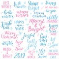 Set Merry Christmas and Happy New Year 2019 Vector hand drawn lettering phrases
