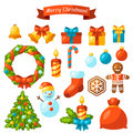 Set Of Merry Christmas Holiday...