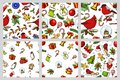 Set of Merry Christmas and New Year seamless pattern, xmas elements with animals and Santa Claus. engraved hand drawn in