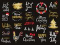 Set of Merry Christmas text, hand drawn lettering and Happy New Year typography design. For cards, invitations, posters Royalty Free Stock Photo