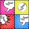 Set message comic bubble speech cartoon expression illustration Royalty Free Stock Photo