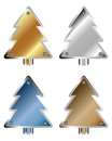 Set of metal christmas trees isolated on white background Royalty Free Stock Photo