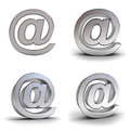 Set of metal email signs over white background with reflection Royalty Free Stock Photos