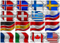 Set of Metal Flags - 16 Items Royalty Free Stock Images