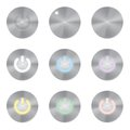 Set of metallic app icons. Power Button Vector Royalty Free Stock Photo