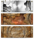 Set of metallic headers grunge gears three horizontal banners or with Royalty Free Stock Image