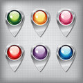 Set of metallic map pointers with colored shiny buttons on a metal textured background for websites or applications app for Stock Image