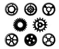 Set of metallic pinions and gears for industry concept design isolated on white background Stock Images