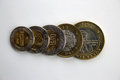 Set of mexican peso coins overlapping and in increasing value order includes and pesos Royalty Free Stock Image