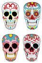Set of Mexican Sugar Skulls Stock Images