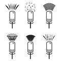 A set of microphone icons releasing a variety of sound waves. A image of microphones from which different sounds are erupte