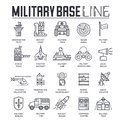 Set of military base thin line icons, pictograms.