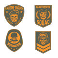 Set of military emblems templates. Skull in paratrooper beret. S Royalty Free Stock Photo