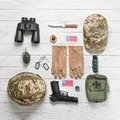 Set of military equipment on wooden background