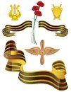Set of military insignia and george ribbon with carnations Stock Images