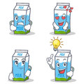 Set of milk box character with angry love waiting idea Royalty Free Stock Photo