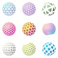 Set of minimalistic shapes. Halftone spheres Royalty Free Stock Photo
