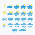 Set of minimalistic weather icons isolated Stock Photo