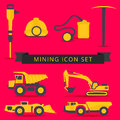 Set of mining theme icons of yellow and grey colors on a red bac