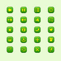 Set of mobile green vector elements for ui game design play menu heart star sound restart buttons Stock Photo