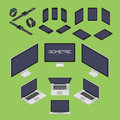 Set of mobile phone smart watch tablet laptop computer from four sides icon set vector graphic illustration isometric view the Stock Photos