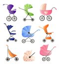 Set of modern baby strollers for web design isolated on white background Royalty Free Stock Photo