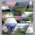 Set of modern banners. Abstract multicolored background, blurred nature landscapes, geometric vector, triangular style Royalty Free Stock Photo