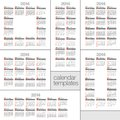 Set modern calendars design in two three four and six columns Stock Photography