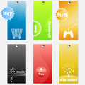 Set of modern colorful themed shopping tags Stock Photography