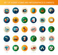 Set of modern flat design hobby icons and