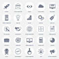 Set of modern flat design icons for internet marketing, media and business