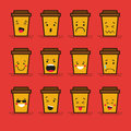 Set of 12 modern flat emoticons: Coffee take-away or coffee to go, cardboard cup with plastic lid, hot drink, smile