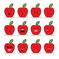 Set of 12 modern flat emoticons: Red apple with leaf, food, fruit, smile, sadness and other emotions. Vector