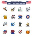 Set of 16 Modern Flat Filled Lines pack on USA Independence Day scale; justice; american; court; usa Royalty Free Stock Photo