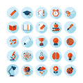 Set of modern flat icons on education theme with long shadow in stylish colors sport science biology art and music Royalty Free Stock Photo