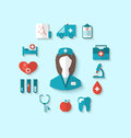 Set modern flat icons of nurse and medical objects simple style illustration with long shadow Stock Images