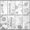 Set of modern flyers. Hand drawn floral doodle pattern, abstract vector background Royalty Free Stock Photo