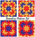 Set of 4 modern geometric seamless patterns with rhombus and squares of blue, red and orange shades Royalty Free Stock Photo