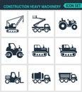 Set of modern  icons. Construction heavy machinery tractor, lift, crane, roller, bulldozer, dump truck, barrel. Black signs Royalty Free Stock Photo