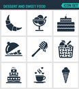 Set of modern  icons. Dessert and sweet food croissant, dessert, cake, fruit salad, honey, apple, basket, coffee, ice creams Royalty Free Stock Photo