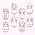 Set of modern icons doll matryoshka with different accessories line art Royalty Free Stock Photos