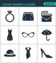 Set of modern  icons. Elegant women s clothing ring, skirt, bag, clutch, dress, glasses, umbrella, hat, shoes. Black signs Royalty Free Stock Photo