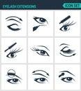 Set of modern icons. Eyelash extensions eyelashes, eyes, mascara, eye shadow, eyebrow, eyeliner, increase. Black signs