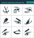 Set of modern icons. Makeup mascara eyebrow pen Care for lashes, eyeliner, mascara, pencil. Black signs