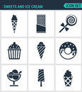 Set of modern icons. Sweets and ice cream ice creams, chocolate, candy, cake, Donuts, dessert, popsicle. Black signs