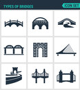 Set of modern icons. Types of bridges architecture, construction. Black signs on a white background. Design isolated symbol Royalty Free Stock Photo